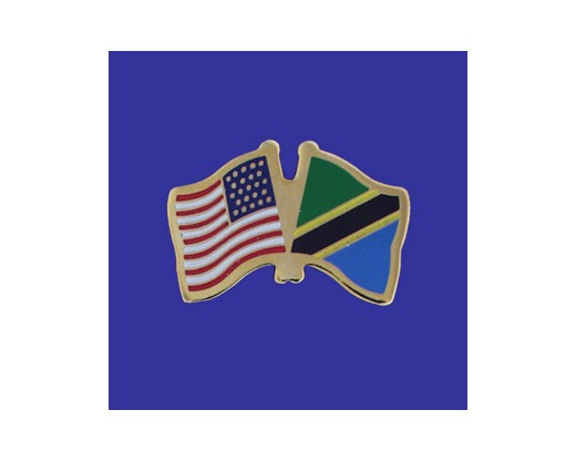 Tanzania Lapel Pin (Double Waving Flag w/USA)