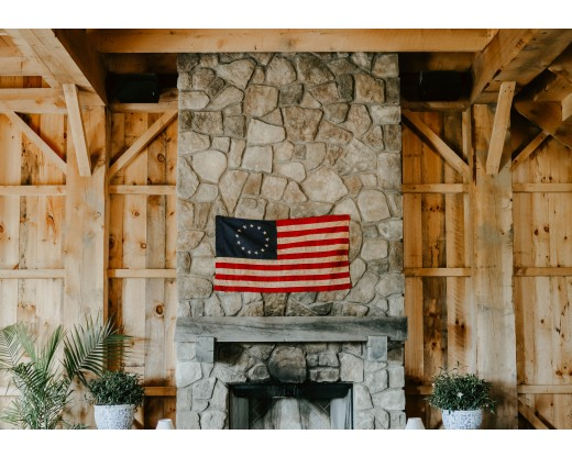 Betsy Ross flag on mantel