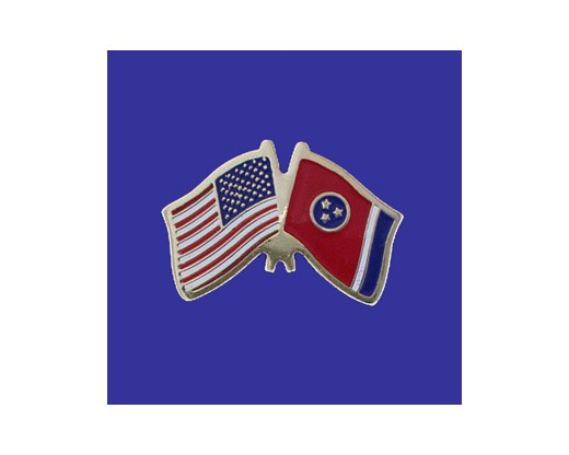 Tennessee State Flag Lapel Pin (Double Waving Flag w/USA) (Imported - Close Out)