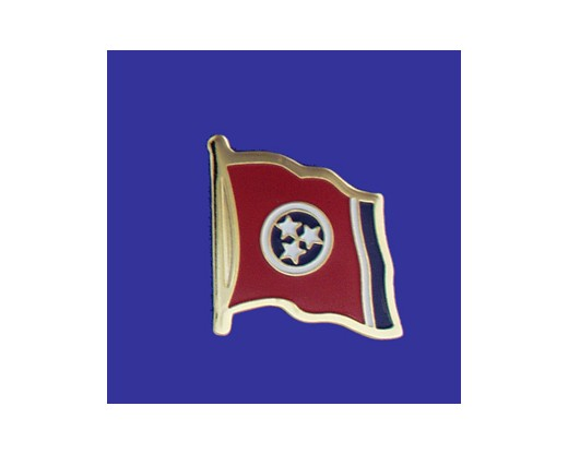 Tennessee State Flag Lapel Pin (Single Waving Flag) (Imported - Close Out)