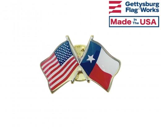 Texas State Flag Lapel Pin (Double Waving Flag w/USA)