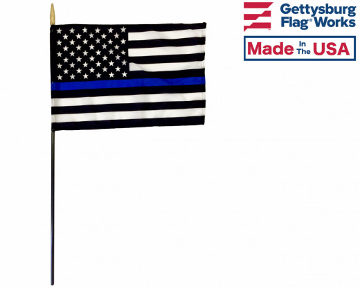 Thin Blue Line - USA Design Stick Flag