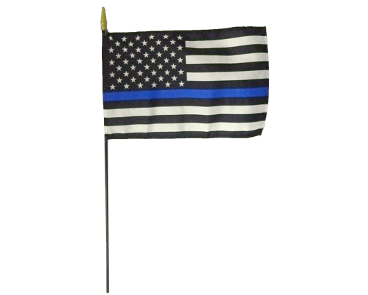 "Blue lives matter. Show your support for law enforcement with a Thin Blue Line stick flag. 12x18"" nylon printed flag, mounted on a 3/8"" diameter wooden staff."