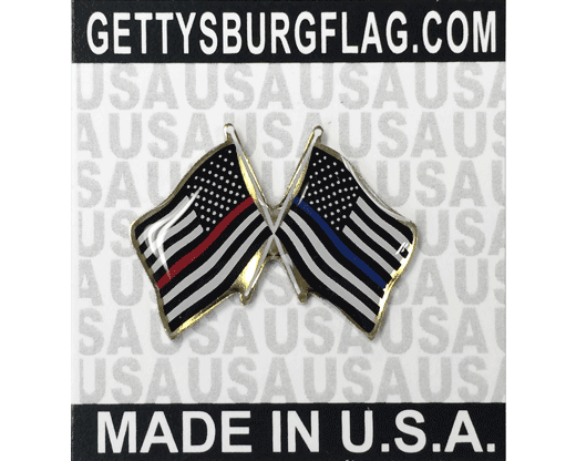 Crossed Flag Lapel Pin, Thin Red Line and Thin Blue Line Flags on card