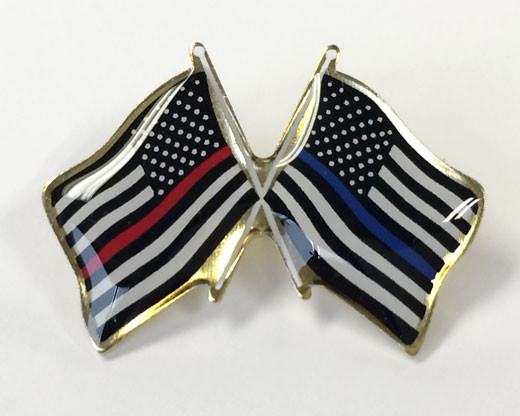 Crossed Flag Lapel Pin, Thin Red Line and Thin Blue Line Flags