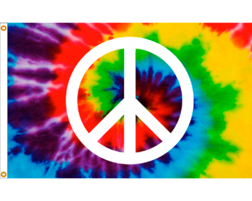 Tie Dye Peace Sign Flag