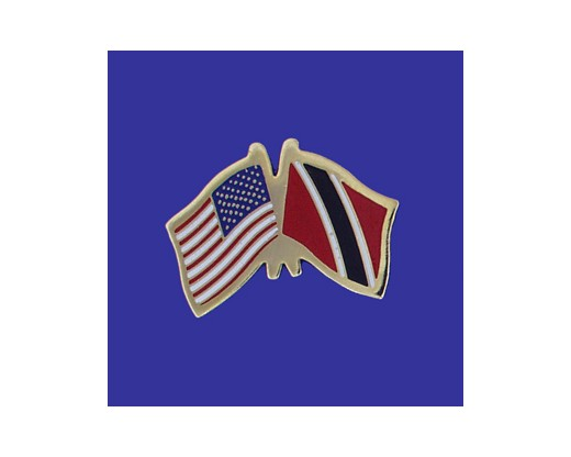 Trinidad & Tobago Lapel Pin (Double Waving Flag w/USA) (Imported - Close Out)