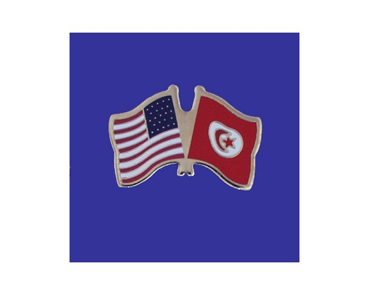 Tunisia Lapel Pin (Double Waving Flag w/USA)