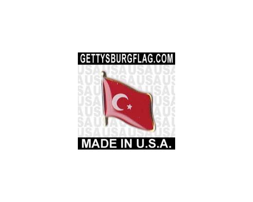 Turkey Lapel Pin (Single Waving Flag)