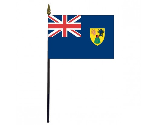 """Turks & Caicos Stick Flag - 4x6"""""""