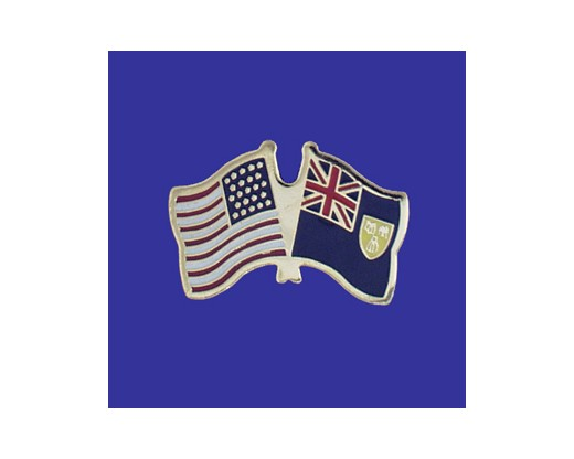 Turks & Caicos Lapel Pin (Double Waving Flag w/USA)