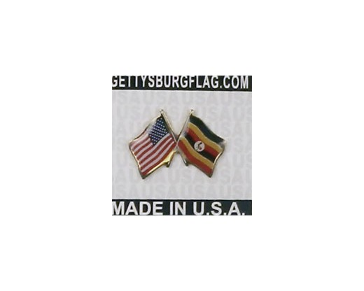 Uganda Lapel Pin (Double Waving Flag w/USA)