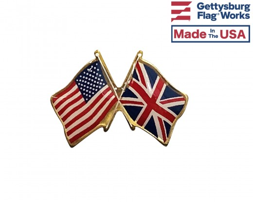 UK with US flag lapel pin