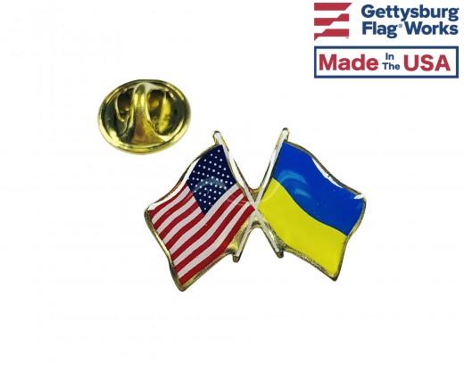 Ukraine Lapel Pin (Double Waving Flag w/USA)