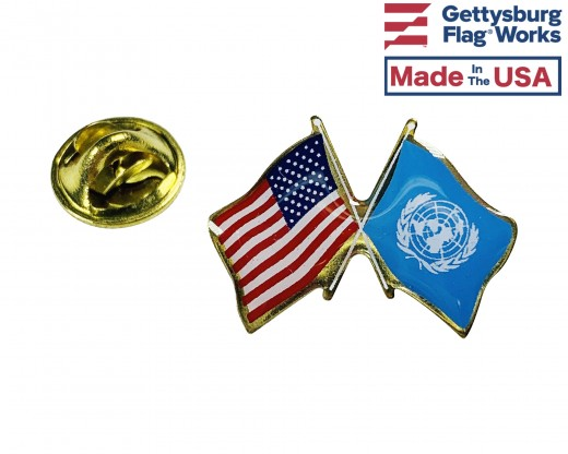 United Nations Lapel Pin (Double Waving Flag w/USA)
