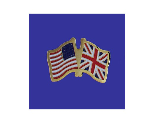 United Kingdom Lapel Pin (Double Waving Flag w/USA) (Imported - Close Out)