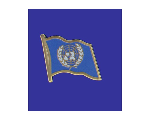 United Nations Lapel Pin (Single Waving Flag) (Imported - Close Out)