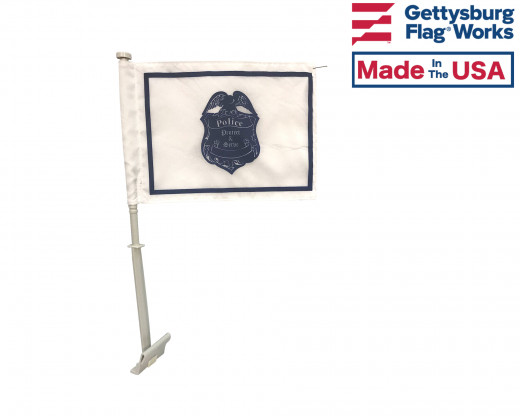 police car window flag front
