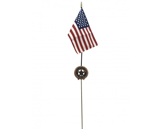 Persian Gulf Bronze Grave Marker that holds a flag
