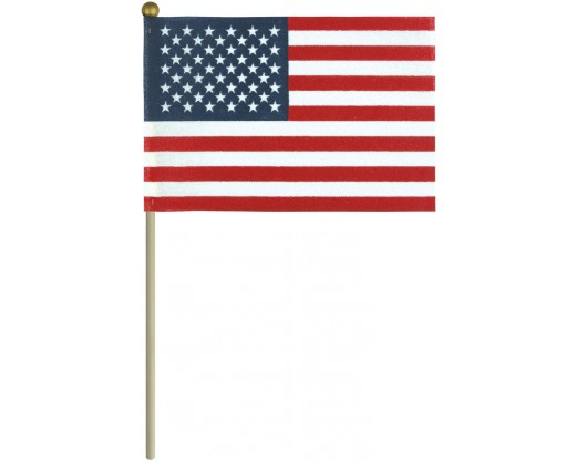 "Economy USA Stick Flag 4x6"" with ball"