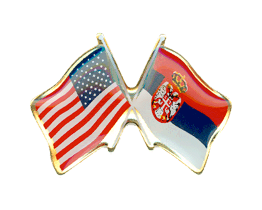 Serbia and USA Flag Pin