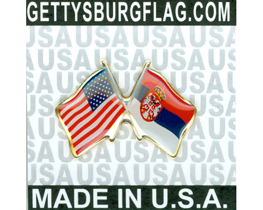 Serbia Lapel Pin (Double Waving Flag w/USA)