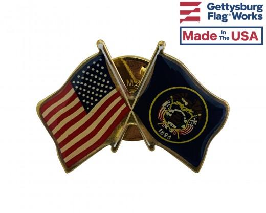 Utah State Flag Lapel Pin (Double Waving Flag w/USA)