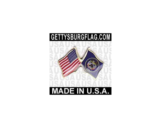 Utah State Flag Lapel Pin (with US Flag)