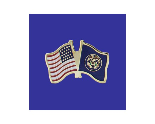 Utah State Flag Lapel Pin (Double Waving Flag w/USA) (Imported - Close Out)