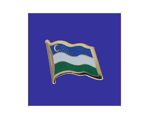 Uzbekistan Lapel Pin (Single Waving Flag)