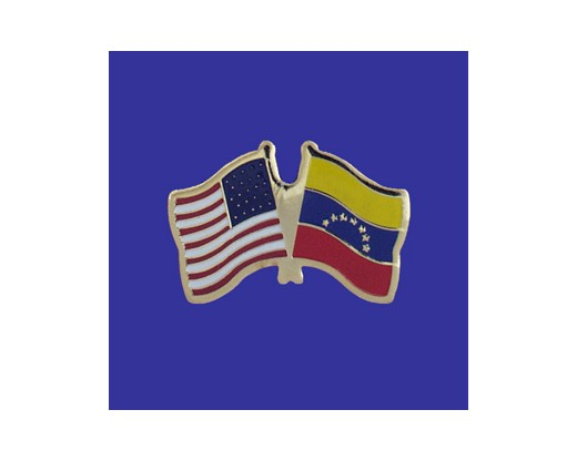 Venezuela (no seal) Lapel Pin (Double Waving Flag w/USA)