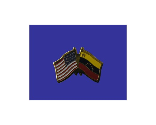 Venezuela w/Seal Lapel Pin (Double Waving Flag w/USA)