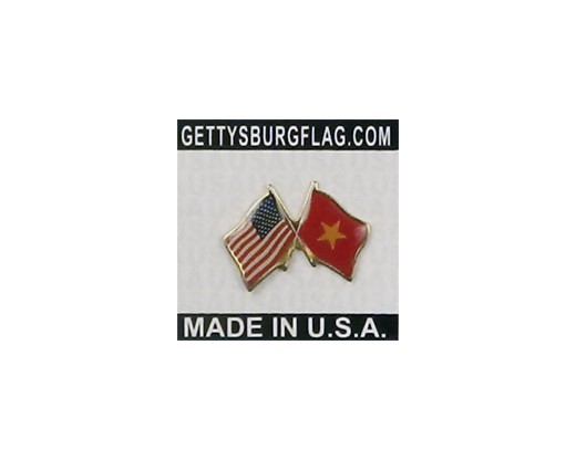 Vietnam Lapel Pin (Double Waving Flag w/USA)