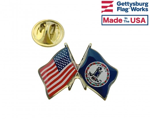 Virginia State Flag Lapel Pin (Double Waving Flag w/USA) (Imported - Close Out)