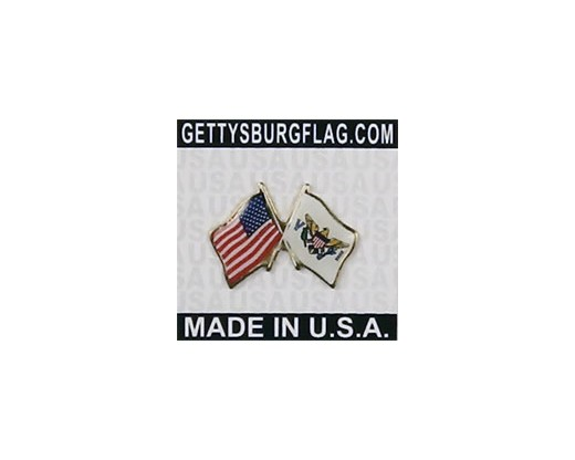 Virgin Islands Lapel Pin (Double Waving Flag w/USA)
