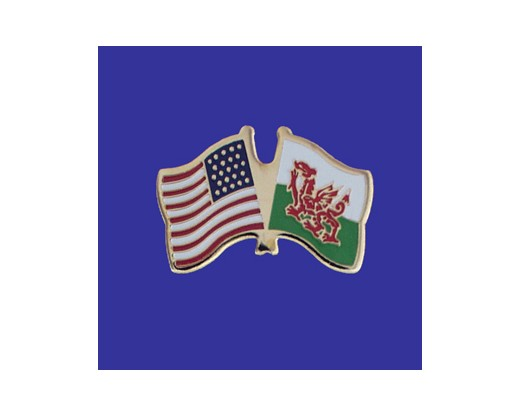 Wales Lapel Pin (Double Waving Flag w/USA)
