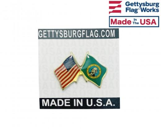 Washington State Flag Lapel Pin (Double Waving Flag w/USA)