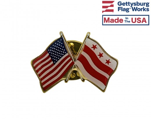 District Of Columbia Lapel Pin (Double Waving Flag w/USA)