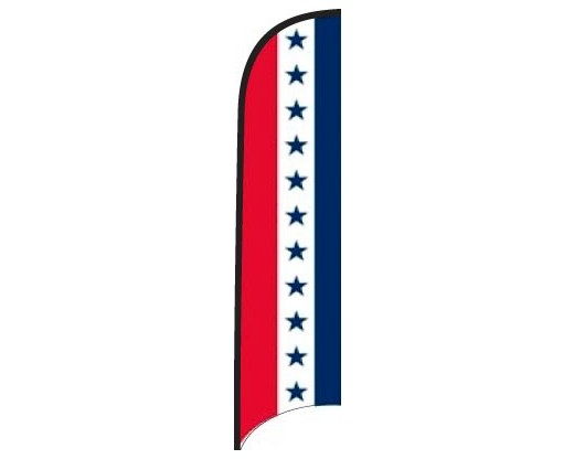 Wave Flag - Red, White & Blue Stripes with Blue Stars