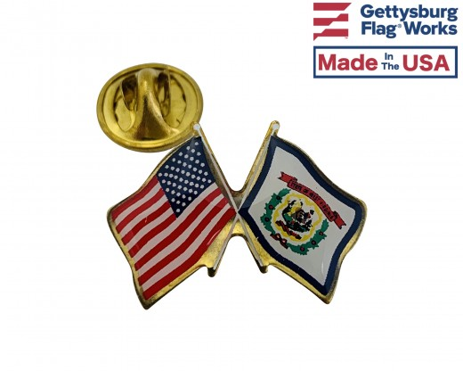 West Virginia State Flag Lapel Pin (Double Waving Flag w/USA)