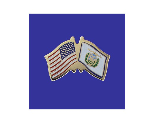West Virginia State Flag Lapel Pin (Double Waving Flag w/USA) (Imported - Close Out)