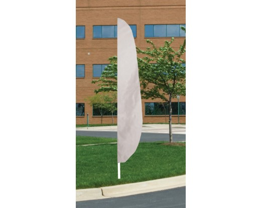 "12'x26"" Blank Feather Flag, 3"" Capped Pole Sleeve, White"