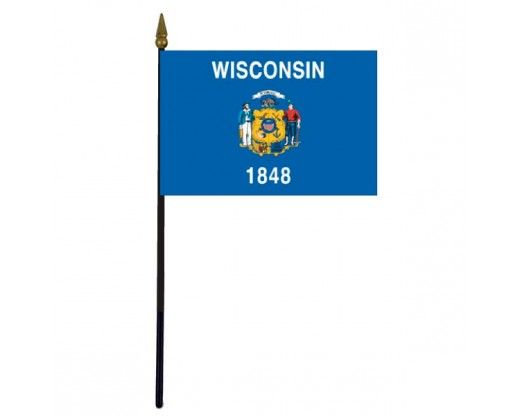 Wisconsin State Stick Flag - 4x6""