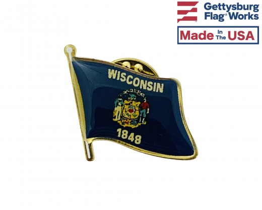 Wisconsin State Flag Lapel Pin (Single Waving Flag)