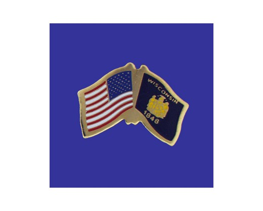 Wisconsin State Flag Lapel Pin (Double Waving Flag w/USA) (Imported - Close Out)