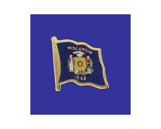 Wisconsin State Flag Lapel Pin (Single Waving Flag) (Imported - Close Out)