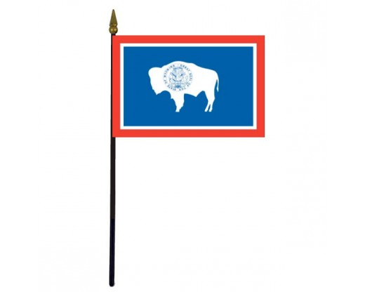 Wyoming State Stick Flag - 4x6""