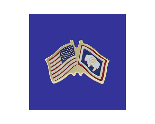 Wyoming State Flag Lapel Pin (Double Waving Flag w/USA) (Imported - Close Out)