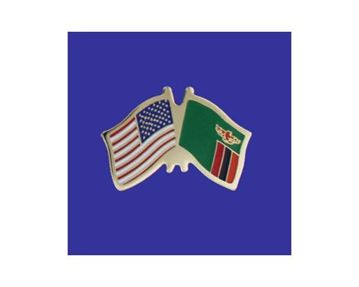 Zambia Lapel Pin (Double Waving Flag w/USA)