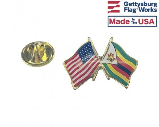 Zimbabwe Lapel Pin (Double Waving Flag w/USA)